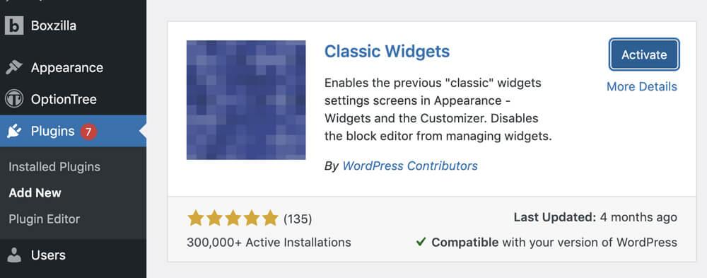 The Classic Widgets Plugin for WordPress