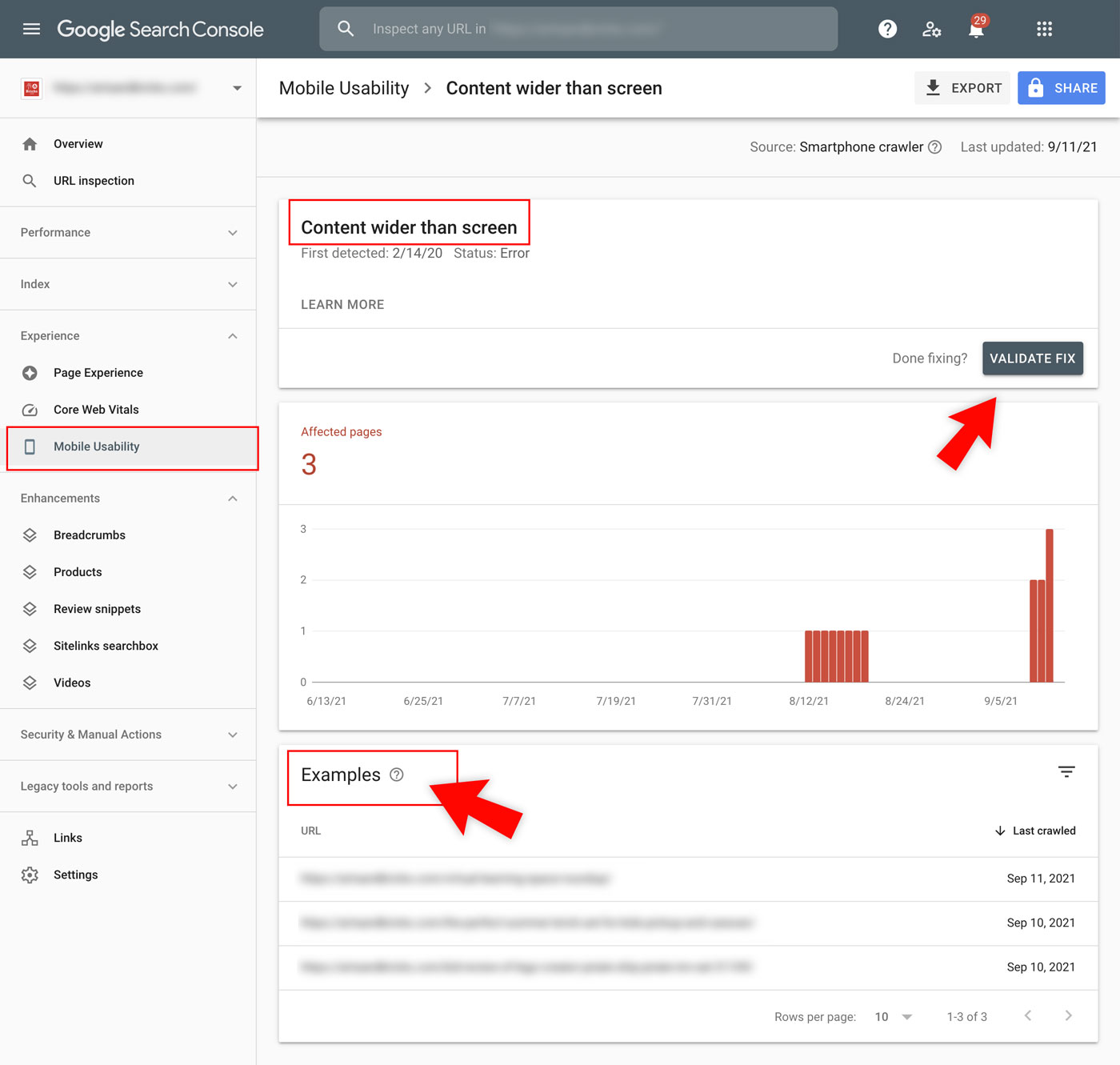 Use Google Search Console to address Mobile Usability issues. Validate fixes. See examples of problem pages.