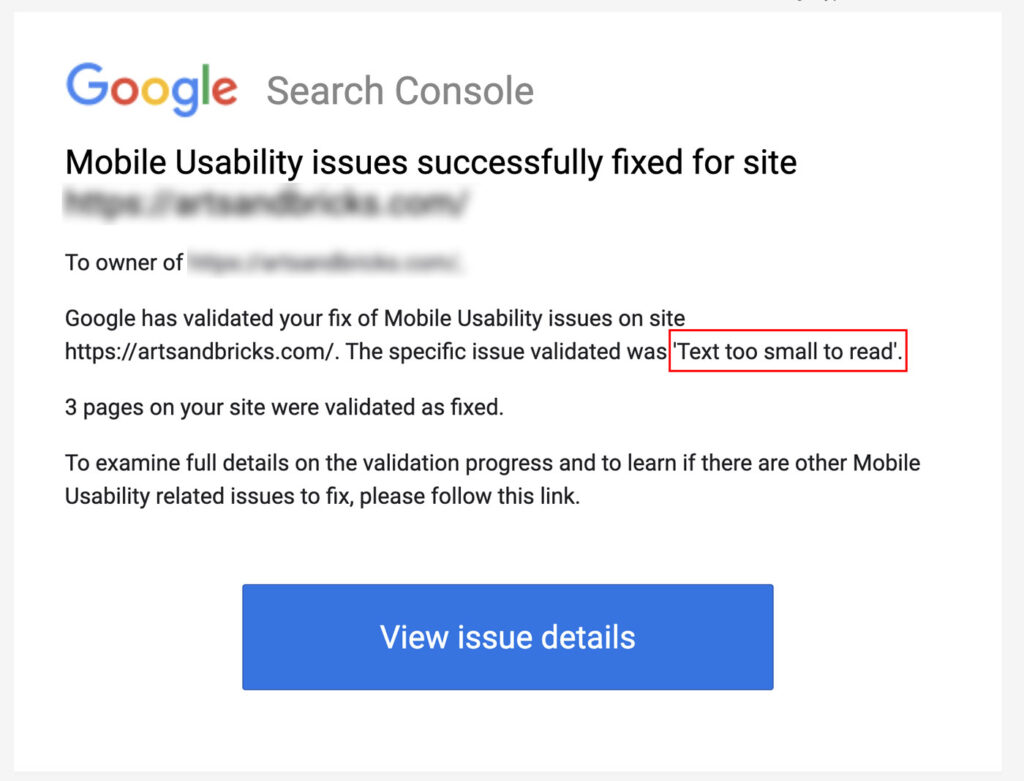"""Google Search Console Success email for fixing """"Text too small to read"""" error."""
