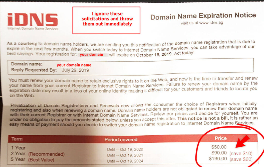 iDNS Domain Name Expiration Notice - paper snail mail. Safe to ignore and throw out. Most importantly, this pricing is much higher than the industry standard. You can renew your domain for less than $10 a year at namesilo.com. IDNS is charging $50/year for the same renewal service!
