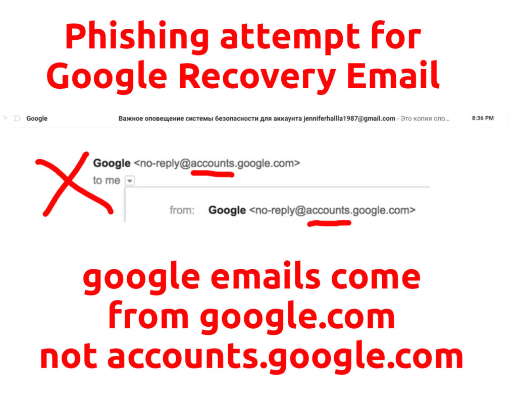 Phishing attempt spoofing Google. Fake email address is accounts.google.com. Official google emails come google.com.