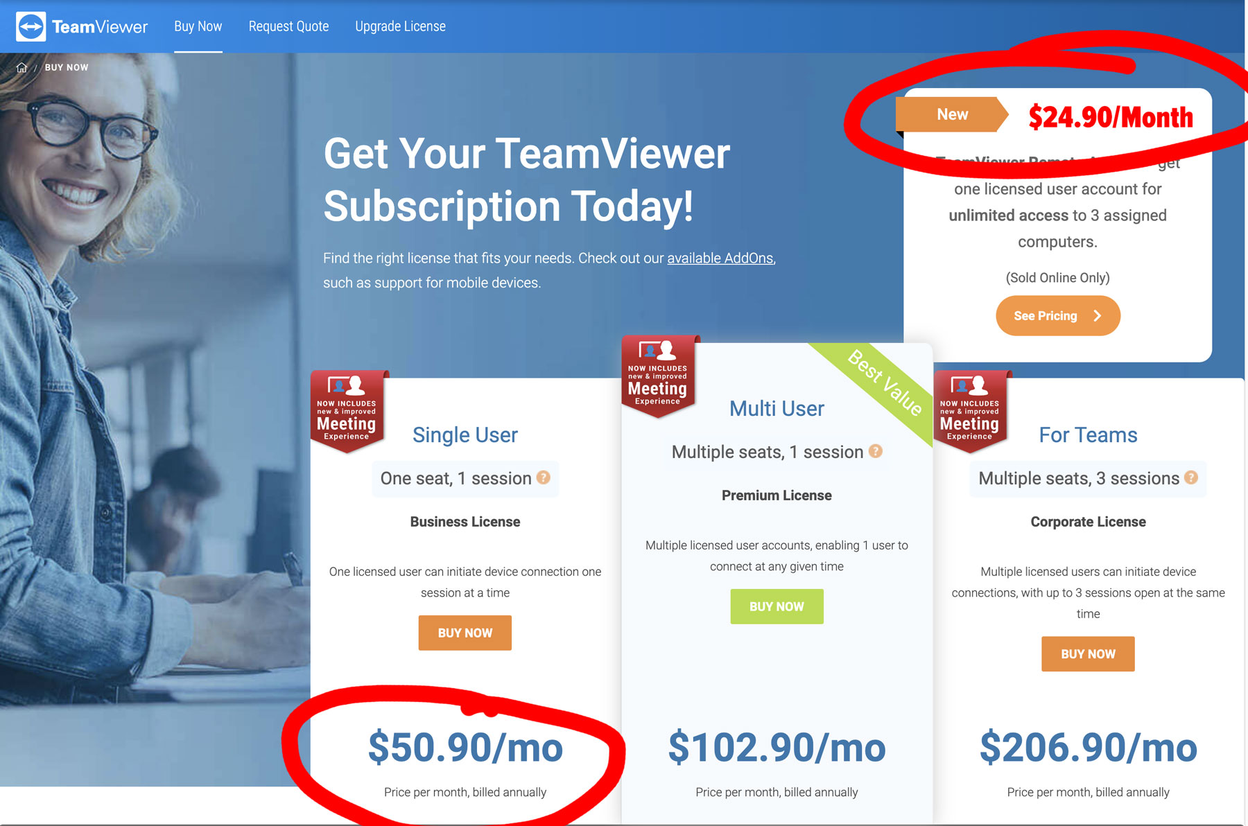 TeamViewer subscription pricing